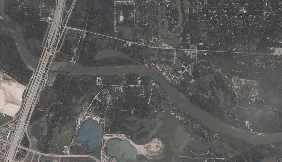 Satellite imagery of the San Jacinto River basin following Hurricane Harvey