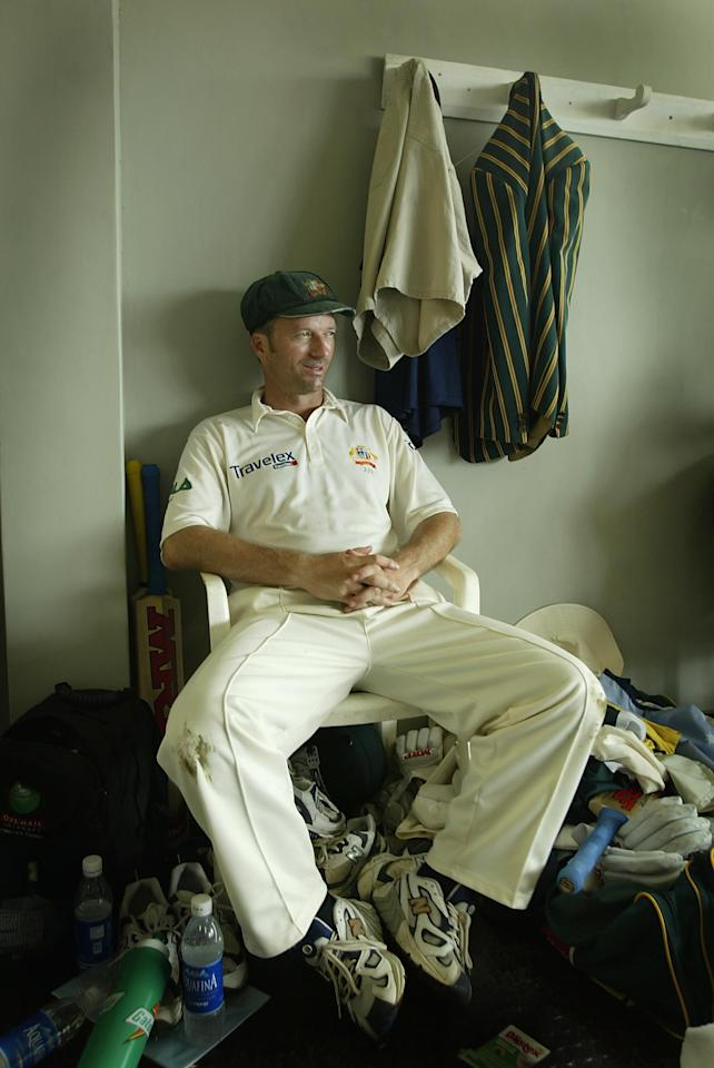 COLOMBO - OCTOBER 7:  Steve Waugh, captain of Australia, in good humour in the dressing room as Australia defeat Pakistan on the fifth day of the first test match between Pakistan and Australia at the P.Saravanamuttu Stadium in Colombo, Sri Lanka  on October 7, 2002. (Photo by Clive Mason/Getty Images.)