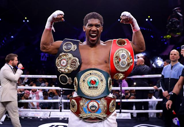 Anthony Joshua regains his world heavyweight titles after Andy Ruiz rematch. (Getty Images)