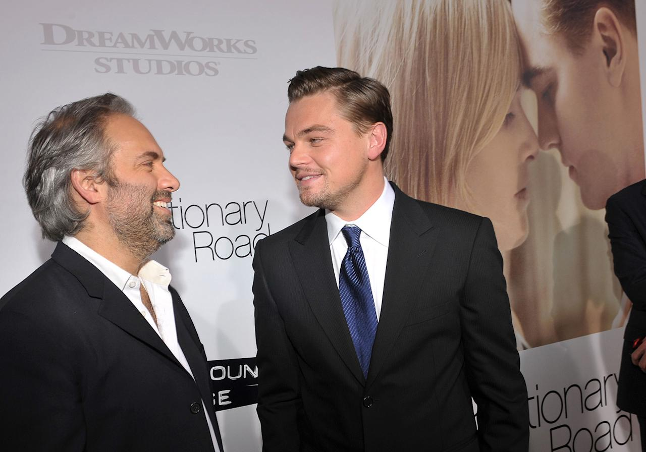 "<a href=""http://movies.yahoo.com/movie/contributor/1800018631"">Sam Mendes</a> and <a href=""http://movies.yahoo.com/movie/contributor/1800020898"">Leonardo DiCaprio</a> at the Los Angeles premiere of <a href=""http://movies.yahoo.com/movie/1809883886/info"">Revolutionary Road</a> - 12/15/2008"