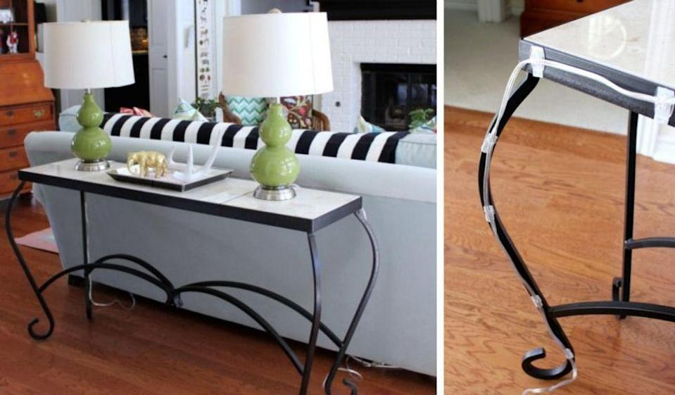 """<p class=""""p1"""">Nothing hampers decor quite like wires that have to be plugged in across the room. Tiny adhesive hooks help camouflage potential tangles by attaching cords to the back of furniture.</p><p><em><a href=""""http://hisugarplum.blogspot.com/p/let-me-preface-this-by-disclaiming-i-am.html"""" rel=""""nofollow noopener"""" target=""""_blank"""" data-ylk=""""slk:See more at Hi Sugarplum! »"""" class=""""link rapid-noclick-resp""""><em>See more at Hi Sugarplum! »</em></a></em></p>"""