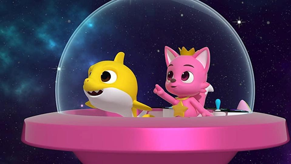 """<p><strong>Amazon's Description:</strong> """"Follow Pinkfong &amp; Baby Shark's space journey as they visit mysterious planets to help find the special star for Pinkfong!""""</p> <p><a href=""""https://www.amazon.com/gp/video/detail/B08R61XS23"""" class=""""link rapid-noclick-resp"""" rel=""""nofollow noopener"""" target=""""_blank"""" data-ylk=""""slk:Watch Pinkfong and Baby Shark's Space Adventure on Amazon Prime Video here!"""">Watch <strong>Pinkfong and Baby Shark's Space Adventure</strong> on Amazon Prime Video here!</a></p>"""