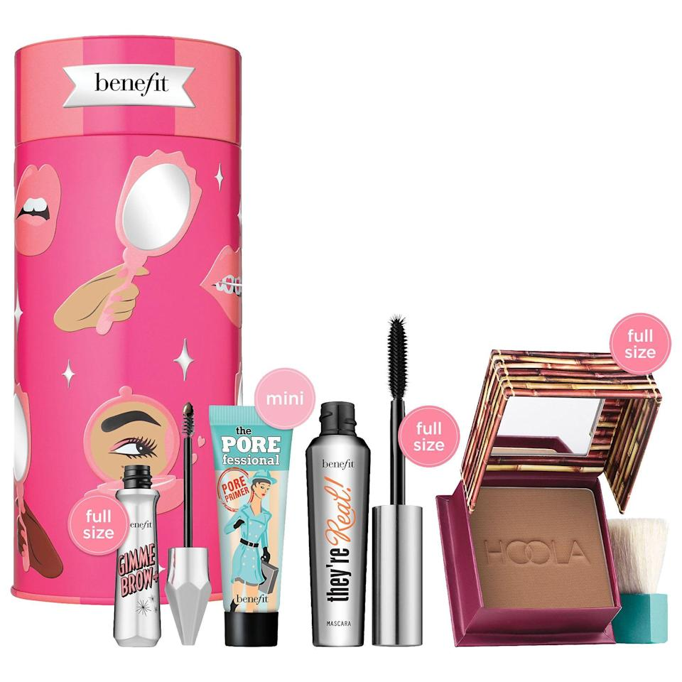 """<p><strong>Benefit Cosmetics</strong></p><p>sephora.com</p><p><strong>$40.00</strong></p><p><a href=""""https://go.redirectingat.com?id=74968X1596630&url=https%3A%2F%2Fwww.sephora.com%2Fproduct%2Fbenefit-cosmetics-byob-bring-your-own-beauty-set-P463802&sref=https%3A%2F%2Fwww.redbookmag.com%2Ffashion%2Fg34746885%2Fmakeup-gift-sets%2F"""" rel=""""nofollow noopener"""" target=""""_blank"""" data-ylk=""""slk:Shop Now"""" class=""""link rapid-noclick-resp"""">Shop Now</a></p><p>Enter Benefit's take on BYOB: This Sephora-exclusive set gives her exactly what she needs for a natural look, including brow gel, mascara, bronzer, and makeup primer. Then she can build on to this foundation with face, lip, and cheek products. </p>"""