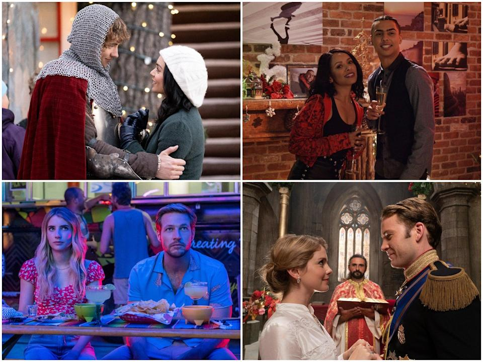 Clockwise from top left: 'The Knight Before Christmas', 'The Holiday Calendar', 'A Christmas Prince: The Royal Wedding', 'Holidate' (Netflix)