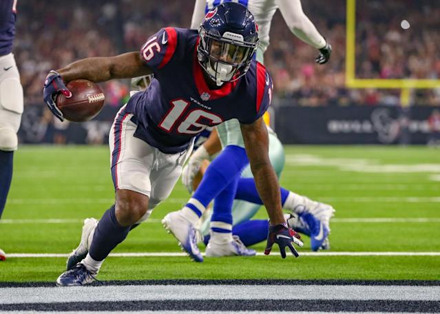 """<a class=""""link rapid-noclick-resp"""" href=""""/nfl/players/31073/"""" data-ylk=""""slk:Keke Coutee"""">Keke Coutee</a> might be stashed on benches due to injury, but he could pay dividends down the fantasy stretch. (Photo by Leslie Plaza Johnson/Icon Sportswire)"""