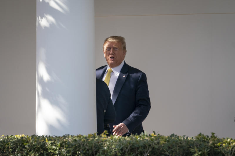 WASHINGTON, DC - MARCH 09: U.S. President Donald Trump walks toward the Oval Office after exiting Marine One on the South Lawn of the White House March 9, 2020 in Washington, DC. President Trump spent the weekend at his Mar-a-Lago resort and also stopped at a political fundraiser in central Florida on Monday morning before returning to Washington. (Photo by Drew Angerer/Getty Images)