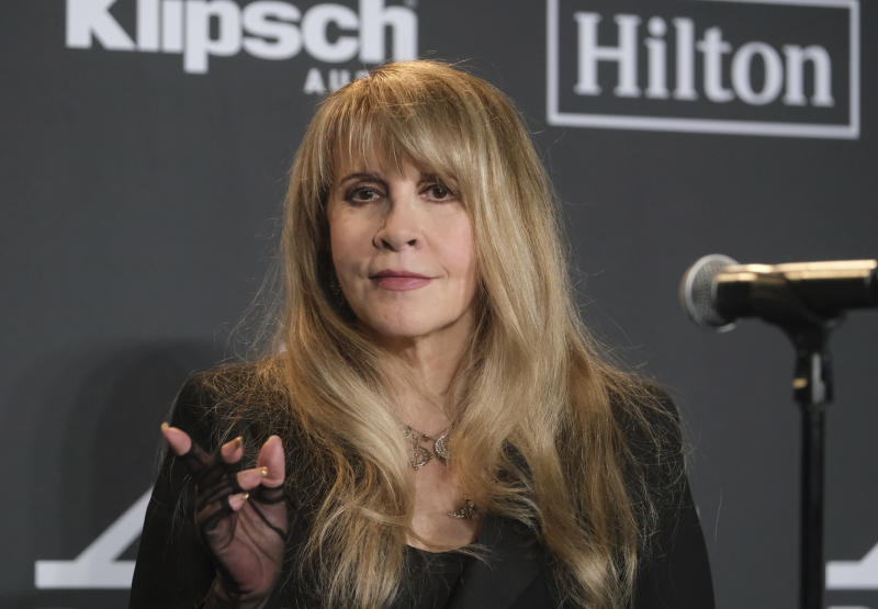 Inductee Stevie Nicks poses in the press room at the Rock & Roll Hall of Fame induction ceremony at the Barclays Center on Friday, March 29, 2019, in New York. (Photo by Charles Sykes/Invision/AP)