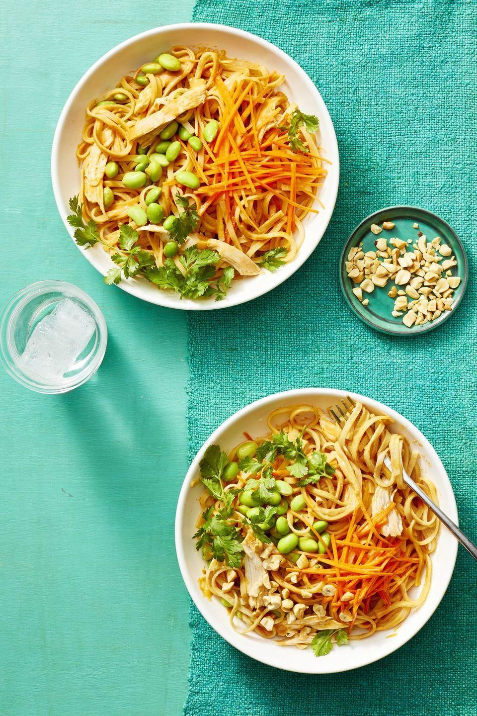 """<p>Customize this Asian-inspired dish by tossing in an assortment of veggies.</p><p><em><a href=""""https://www.womansday.com/food-recipes/food-drinks/a22551802/peanut-noodles-with-chicken-recipe/"""" rel=""""nofollow noopener"""" target=""""_blank"""" data-ylk=""""slk:Get the recipe from Woman's Day »"""" class=""""link rapid-noclick-resp"""">Get the recipe from Woman's Day »</a></em></p><p><strong>RELATED:</strong> <a href=""""https://www.goodhousekeeping.com/food-recipes/easy/g2341/pasta-recipes-with-5-ingredients/"""" rel=""""nofollow noopener"""" target=""""_blank"""" data-ylk=""""slk:50+ Easy Pasta Recipes for the Perfect Weeknight Dinner"""" class=""""link rapid-noclick-resp"""">50+ Easy Pasta Recipes for the Perfect Weeknight Dinner</a><br></p>"""