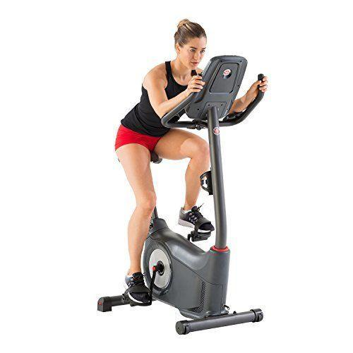 "<p><strong>Schwinn Fitness</strong></p><p>amazon.com</p><p><strong>$539.99</strong></p><p><a href=""https://www.amazon.com/dp/B01MUAOZZ4?tag=syn-yahoo-20&ascsubtag=%5Bartid%7C10055.g.35852402%5Bsrc%7Cyahoo-us"" rel=""nofollow noopener"" target=""_blank"" data-ylk=""slk:Shop Now"" class=""link rapid-noclick-resp"">Shop Now</a></p><p>In addition to serious lower body work, upright bikes also require core stability given positioning and the fact that most don't offer back support. <strong>Schwinn offers 25 resistance levels and 29 workout programs on this enhanced upright bike model. </strong>Our experts like that the bike offers enhanced Bluetooth connectivity and that the bike is telemetric heart rate enabled. Reviewers like the large LCD display and the quiet ride. Expert assembly comes at an additional cost but is available.</p><p><strong>Dimensions: </strong>41.3"" L x 21.4"" W x 55.6"" H</p><p><strong>Weight Limit: </strong>300lbs</p><p><strong><strong>Digital Monitor:</strong></strong> 2 Blue Backlight LCD Displays</p><p><strong>Pedals: </strong>Strap for standard exercise shoes</p><p><strong>Additional Costs:</strong> None</p>"