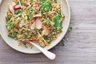 """Peas, kohlrabi, and radishes are great here, but feel free to vary the vegetables in this easy-to-pack salad according to what you have in your garden or find at the market. <a href=""""https://www.epicurious.com/recipes/food/views/crunchy-quinoa-salad?mbid=synd_yahoo_rss"""" rel=""""nofollow noopener"""" target=""""_blank"""" data-ylk=""""slk:See recipe."""" class=""""link rapid-noclick-resp"""">See recipe.</a>"""