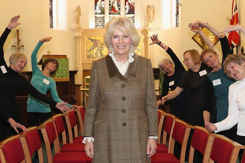 """BATH, ENGLAND - JANUARY 31: Camilla, Duchess Of Cornwall and Patron of St. John's Hospital, poses with members of the """"Silver Swans"""" dance class as she visits the charity's almshouses and officially opens the newly refurbished Rosenberg House during a visit to Bath on January 31, 2017 in Bath, England. Her Royal Highness will meet local organisations supported by St John's as well as community groups who use the facilities and attend a reception for residents and supporters. (Photo by Chris Jackson - WPA Pool / Getty Images)"""