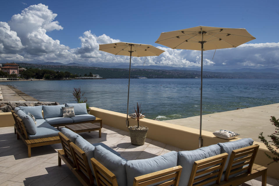 A view at the Adriatic sea from a lounge in Opatija, Croatia, Saturday, May 15, 2021. Croatia has opened its stunning Adriatic coastline for foreign tourists after a year of depressing coronavirus lockdowns and restrictions. (AP Photo/Darko Bandic)