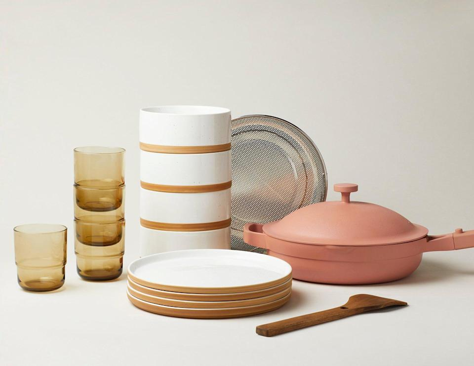 """<h3><h2>Our Place</h2></h3><br><strong>Best For</strong>: Heirloom cookware plus dinnerware bundles that are sustainably made from ethically sourced materials<br><strong>Product Range:</strong> Multipurpose magic pans, dinnerware, and glassware bundles<br><strong>Price Breakdown: </strong>$250 (bundle saves $40)<br><br>Not only does this unique cookware brand utilize biodegradable and recyclable packaging in its shipments, but it also partners with charitable organizations and utilizes ethical work practices when crafting each of its sustainably made pieces. The thoughtful options of themed partnership collections range from <a href=""""https://fromourplace.com/products/always-essential-cooking-pan"""" rel=""""nofollow noopener"""" target=""""_blank"""" data-ylk=""""slk:essential cooking pans"""" class=""""link rapid-noclick-resp"""">essential cooking pans</a> to <a href=""""https://fromourplace.com/products/the-drinking-glass?variant=29224174485579"""" rel=""""nofollow noopener"""" target=""""_blank"""" data-ylk=""""slk:drinking glasses"""" class=""""link rapid-noclick-resp"""">drinking glasses</a>, value-packaged bundled sets, and beyond. <br><br><em>Shop <strong><a href=""""https://fromourplace.com/"""" rel=""""nofollow noopener"""" target=""""_blank"""" data-ylk=""""slk:Our Place"""" class=""""link rapid-noclick-resp"""">Our Place</a></strong></em><br><br><strong>Our Place</strong> Dinner for 4, $, available at <a href=""""https://go.skimresources.com/?id=30283X879131&url=https%3A%2F%2Ffromourplace.com%2Fproducts%2Fbundle"""" rel=""""nofollow noopener"""" target=""""_blank"""" data-ylk=""""slk:Our Place"""" class=""""link rapid-noclick-resp"""">Our Place</a>"""