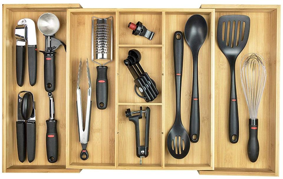 <p>From kitchen tools to junk drawers, this <span>KitchenEdge Adjustable Kitchen Drawer Organizer </span> ($50) is expandable and will fit in your drawers perfectly. Create your own custom configuration with two fixed, and up to seven adjustable compartments. </p>