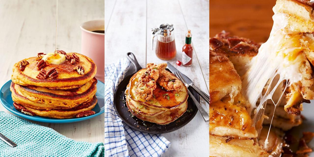 """<p>As much as we love a deliciously sweet <a href=""""https://www.delish.com/uk/cooking/recipes/a30452165/pancake-recipe/"""" target=""""_blank"""">pancake recipe</a>, we're also pretty fond of a savoury pancake. Whether it's <a href=""""http://www.delish.com/uk/cooking/recipes/a30907684/sweet-potato-pancakes-recipe/"""" target=""""_blank"""">sweet potato pancakes</a>, <a href=""""http://www.delish.com/uk/cooking/recipes/a30908397/ham-pea-pancakes-chive-butter-recipe-wdy0113/"""" target=""""_blank"""">ham and pea pancakes</a> or even <a href=""""https://www.delish.com/uk/cooking/recipes/a30907770/grilled-cheese-pancakes-recipe/"""" target=""""_blank"""">grilled cheese pancakes</a>, we love them ALL. And if you don't happen to have time in the morning, these work perfect as lunch or dinner too! </p>"""