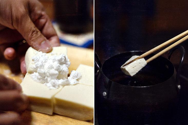 Lightly coat each cube of tofu with potato starch.