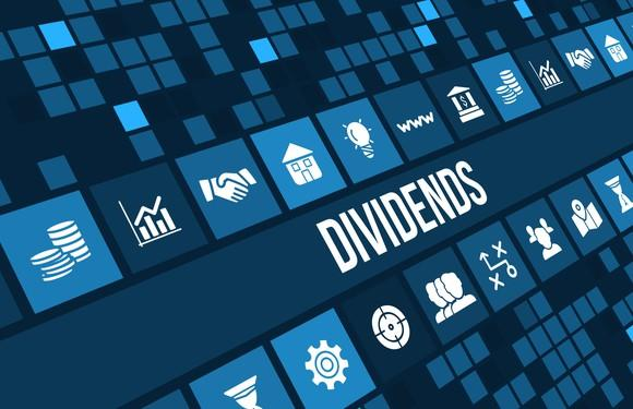 A blue mosaic background with sector-symbol tiles and the word Dividends in white