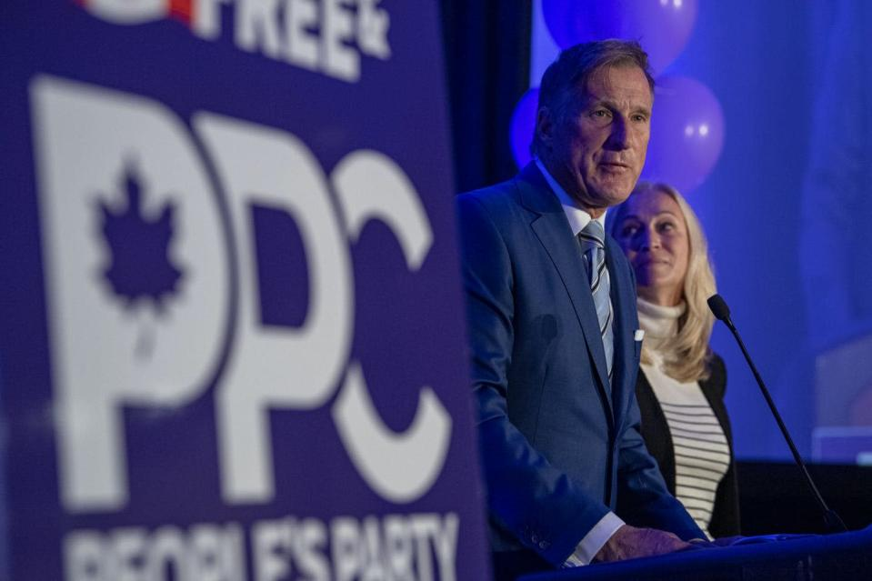 """<span class=""""caption"""">Maxime Bernier, leader of the People's Party of Canada, and his wife Catherine Letarte speak to supporters on election night. </span> <span class=""""attribution""""><span class=""""source"""">THE CANADIAN PRESS/Liam Richards </span></span>"""