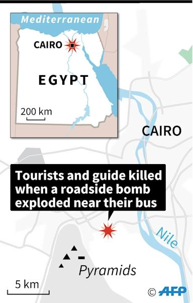 Map locating the explosion Friday of a roadside bomb which hit a tourist bus as it travelled close to the Giza pyramids outside Cairo (AFP Photo/Cecilia SANCHEZ)