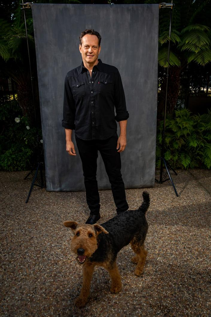 Vince Vaughn and a canine friend.