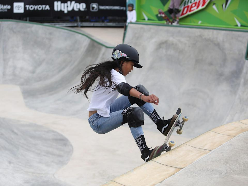 Kokona Hiraki competing at the Dew Tour 2021 in Des Moines, Iowa before the olympic games