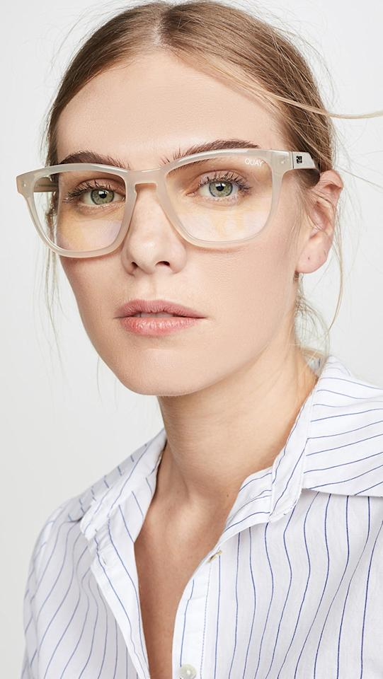 """<p>These <a href=""""https://www.popsugar.com/buy/Quay-Hardwire-Blue-Light-Glasses-547698?p_name=Quay%20Hardwire%20Blue%20Light%20Glasses&retailer=shopbop.com&pid=547698&price=50&evar1=savvy%3Aus&evar9=45742093&evar98=https%3A%2F%2Fwww.popsugar.com%2Fsmart-living%2Fphoto-gallery%2F45742093%2Fimage%2F47191718%2FQuay-Hardwire-Blue-Light-Glasses&list1=tech%2Cdigital%20life%2Cglasses%2Cscreen%20time%2Chealthy%20living%20tips%2Chealth%20and%20wellness&prop13=mobile&pdata=1"""" rel=""""nofollow"""" data-shoppable-link=""""1"""" target=""""_blank"""" class=""""ga-track"""" data-ga-category=""""Related"""" data-ga-label=""""https://www.shopbop.com/hardwire-blue-light-glasses-quay/vp/v=1/1546963223.htm?fm=search-viewall&amp;os=false&amp;ref=SB_PLP_NB_2"""" data-ga-action=""""In-Line Links"""">Quay Hardwire Blue Light Glasses</a> ($50) look so cute on so many face shapes.</p>"""