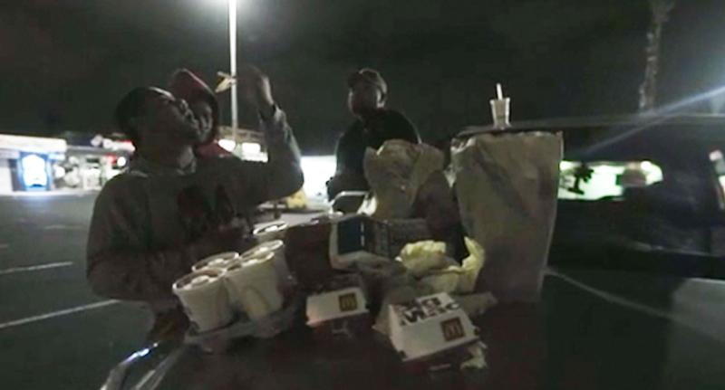 Several customers tuck in to their McDonald's. Source: NZ Herald Focus Live