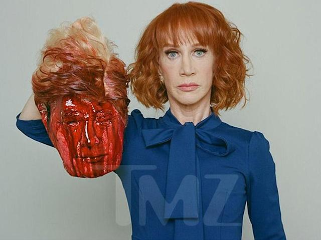 "Here is the offending photo of Kathy Griffin holding Trump's ""head."" (Photo: Tyler Shields)"