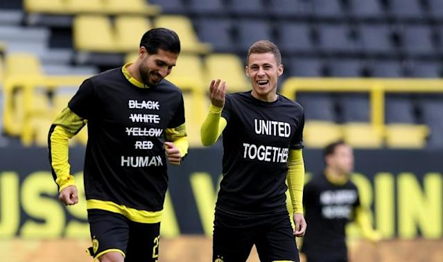 Borussia Dortmund players have offered some of the most visible solidarity to the Black Lives Matters protests (AFP Photo/Lars Baron)