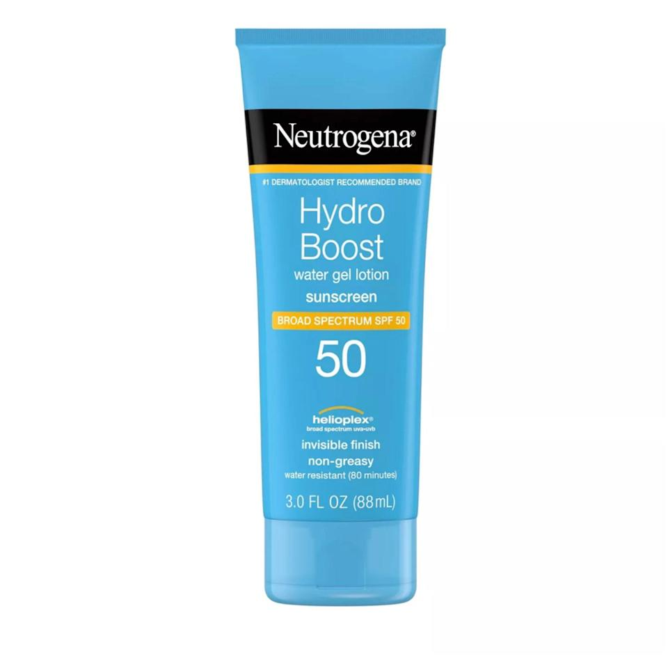 """<a href=""""https://www.allure.com/story/neutrogena-skin360-skinscanner-fitskin?mbid=synd_yahoo_rss"""" rel=""""nofollow noopener"""" target=""""_blank"""" data-ylk=""""slk:Neutrogena"""" class=""""link rapid-noclick-resp"""">Neutrogena</a> has been a dermatologist favorite since the dawn of time and an <a href=""""https://www.allure.com/review/neutrogena-clear-face-sunscreen?mbid=synd_yahoo_rss"""" rel=""""nofollow noopener"""" target=""""_blank"""" data-ylk=""""slk:Allure editor pick for almost as long"""" class=""""link rapid-noclick-resp""""><em>Allure</em> editor pick for almost as long</a>. While we're definitely partial to the brand's <a href=""""https://www.allure.com/review/neutrogena-sheer-zinc-dry-touch-sunscreen-broad-spectrum-spf-50?mbid=synd_yahoo_rss"""" rel=""""nofollow noopener"""" target=""""_blank"""" data-ylk=""""slk:Sheer Touch formulas"""" class=""""link rapid-noclick-resp"""">Sheer Touch formulas</a>, Neutrogena Hydro Boost Water Gel Lotion SPF 50 could fool even the most sunscreen-savvy into thinking it's nothing more than an <a href=""""https://www.allure.com/gallery/best-water-based-gel-moisturizers?mbid=synd_yahoo_rss"""" rel=""""nofollow noopener"""" target=""""_blank"""" data-ylk=""""slk:H2O-heavy moisturizer"""" class=""""link rapid-noclick-resp"""">H2O-heavy moisturizer</a>. It dispenses as a semi-opaque, pale-blue gel and smells more like a fresh, mild shampoo than anything else. It feels cool upon application and dries with a hydrating finish, thanks to an infusion of hyaluronic acid."""