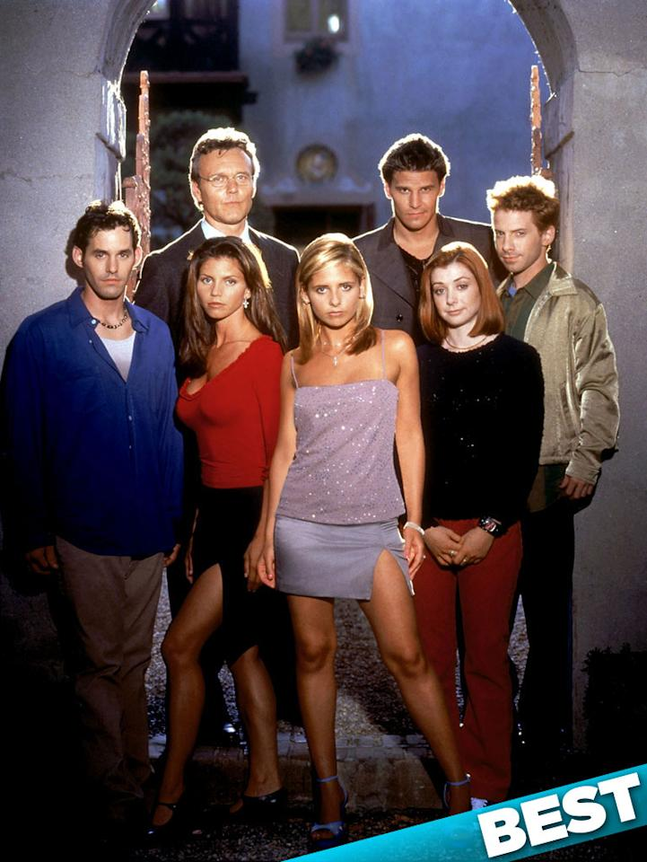"""""""<a href=""""/buffy-the-vampire-slayer/show/29309"""">Buffy the Vampire Slayer</a>"""" — Joss Whedon's brainchild first came to life in a lightly regarded 1992 film starring Kristy Swanson as the titular slayer. But the """"Buffy"""" phenomenon really took off on the small screen, with Sarah Michelle Gellar holding the stake. The TV version ran for seven seasons on The WB and UPN, with its spinoff """"<a href=""""/angel/show/13"""">Angel</a>"""" running for another five seasons, and is still one of the most beloved sci-fi/fantasy shows in TV history."""
