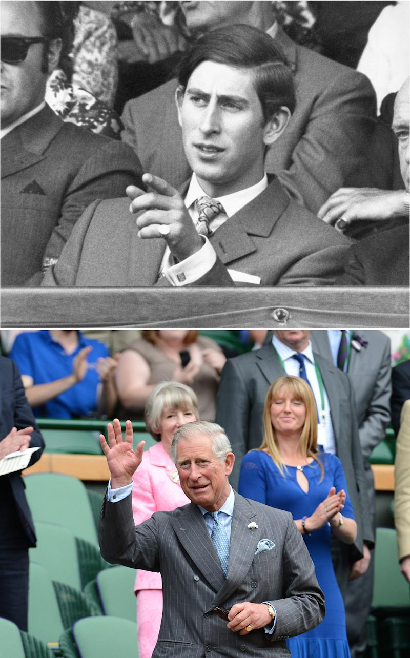 Top Image: Prince Charles watching a match between Dennis Ralston and John Newcombe during the Wimbledon Tennis Championships on June 26th 1970. Photograph courtesy of Getty Images. Bottom Image: 42 years later, Prince Charles acknowledges the Center Court crowd before the second round men's singles match between Switzerland's Roger Federer and Italy's Fabio Fognini on day three of the 2012 Wimbledon Championships tennis tournament on June 27, 2012. Photograph Courtesy of Getty Images.