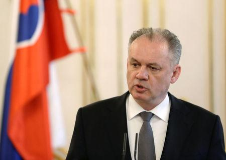 President of Slovakia Andrej Kiska attends a news conference after a meeting with Slovak deputy Prime Minister Peter Pellegrini in Bratislava