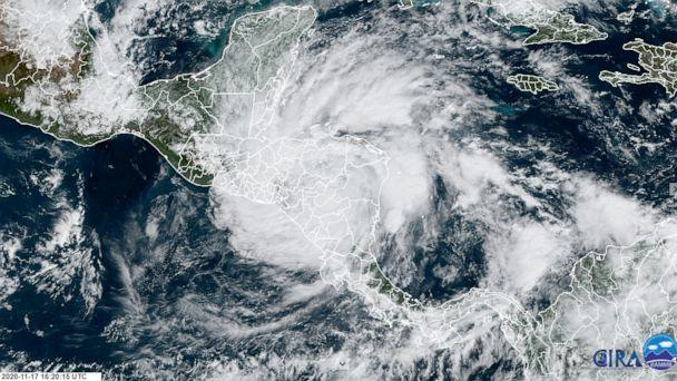 PHOTO: Hurricane Iota blows over Central America in a satellite image collected by NOAA on the morning of Nov. 17, 2020. (RAMMB/NOAA)
