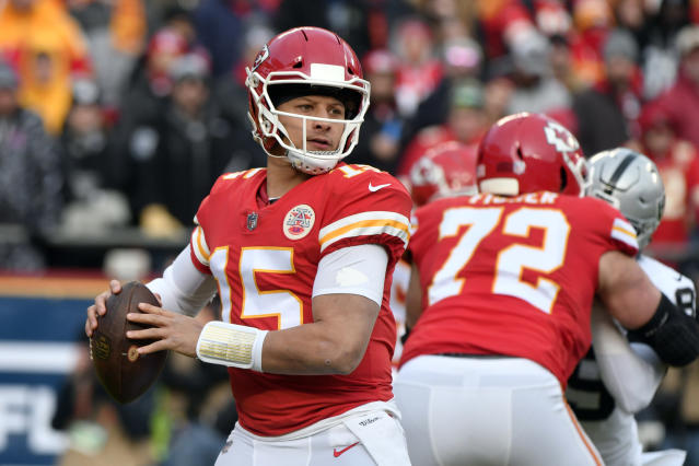 "Kansas City Chiefs quarterback <a class=""link rapid-noclick-resp"" href=""/nfl/players/30123/"" data-ylk=""slk:Patrick Mahomes"">Patrick Mahomes</a> became the first Texas Tech QB drafted inside the first 200 picks since Billy Joe Tolliver in 1989. (AP Photo/Ed Zurga)"
