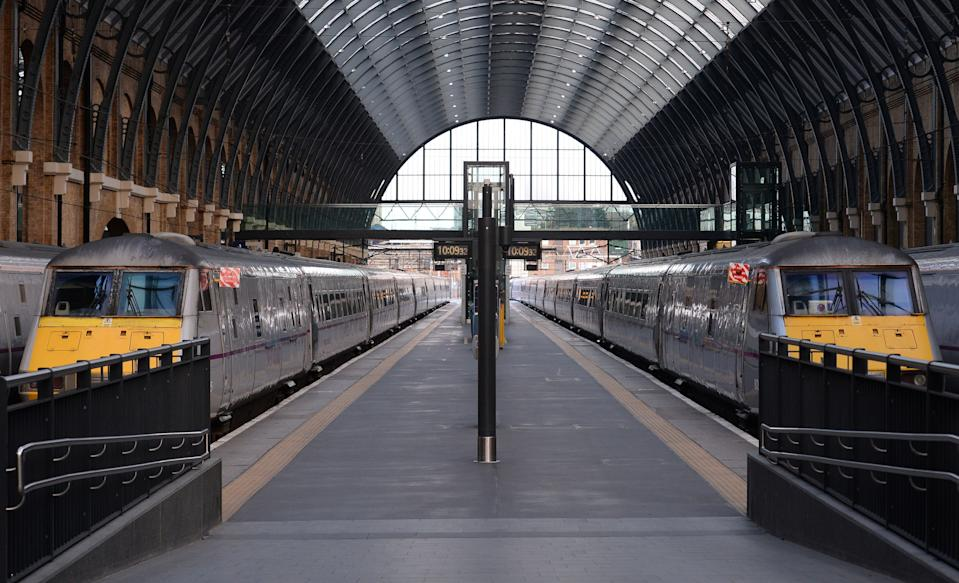 Empty platforms at King's Cross, London, as trains in and out of the station have been cancelled because of overrunning Network Rail engineering works north of the station, with a reduced service tomorrow.