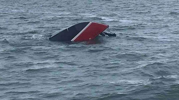 PHOTO: Boaters from the Port Clinton Fisherman's Wharf in Ohio found a man who had been clinging to his capsized sailboat for 12 hours on Monday, Aug. 19. (Port Clinton Fisherman's Wharf)