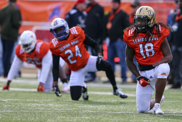 Shaquem Griffin of Central Florida warms up during the South's team practice for the Senior Bowl. (AP)