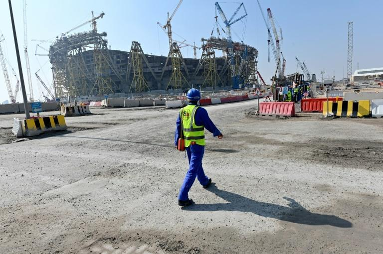 Construction work in 2019 on the Lusail Iconic Stadium, which is due to host next year's World Cup final