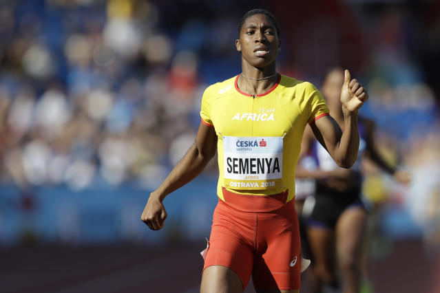 FILE - In this file photo dated Sunday, Sept. 9, 2018, Caster Semenya of South Africa crosses the finish line to win the women's 800 meters for Africa, at the IAAF track and field Continental Cup in Ostrava, Czech Republic. Semenyas running future will be decided by three judges in the Court of Arbitration for Sport, starting Monday Feb. 18, 2019, in a landmark case that may challenge science and gender politics, as Semenya is looking to overturn eligibility rules for hyperandrogenic athletes proposed by track and fields governing body. (AP Photo/Petr David Josek, FILE)