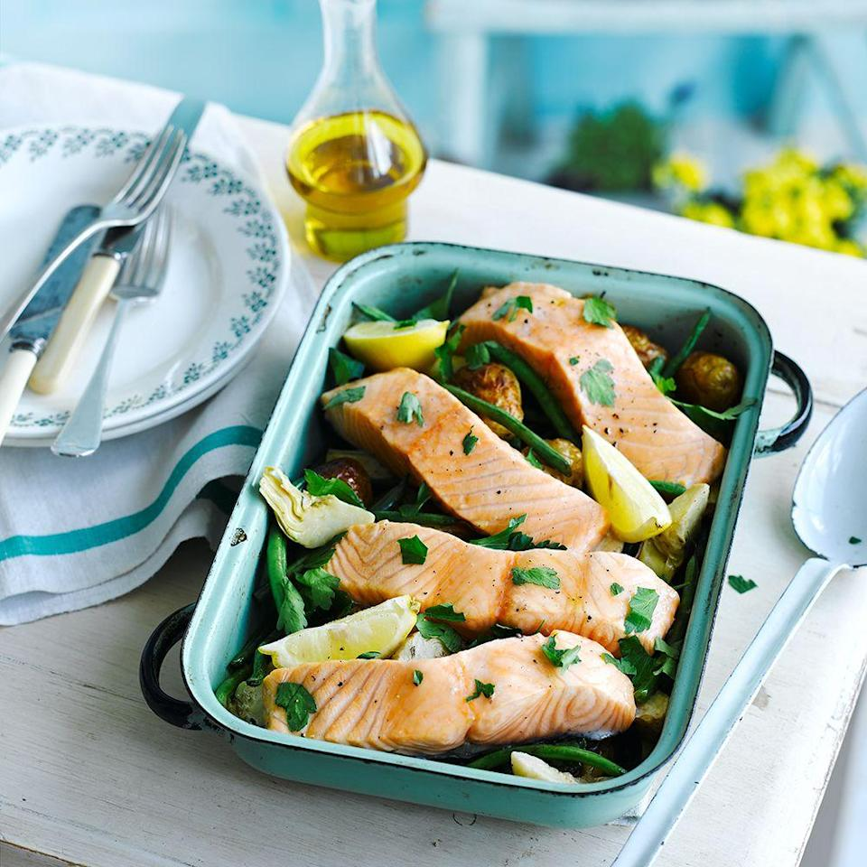 """<p>Try tender stem broccoli or asparagus instead of beans.</p><p><strong>Recipe: <a href=""""https://www.goodhousekeeping.com/uk/food/recipes/a537005/salmon-tray-bake/"""" rel=""""nofollow noopener"""" target=""""_blank"""" data-ylk=""""slk:Salmon tray bake"""" class=""""link rapid-noclick-resp"""">Salmon tray bake</a></strong></p>"""