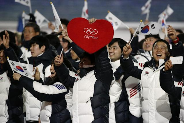 South Korean athletes wave the national flag as they arrive during the opening ceremony of the 2014 Winter Olympics in Sochi, Russia, Friday, Feb. 7, 2014. (AP Photo/Mark Humphrey)