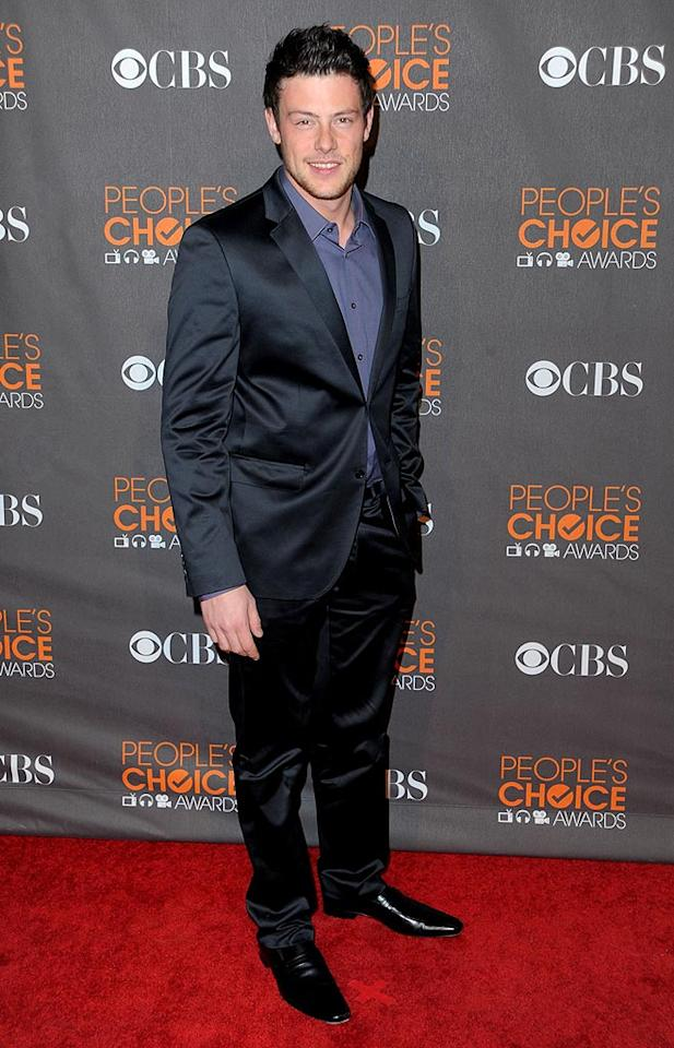 "Lea's dreamy ""Glee"" co-star, Corey Monteith, traded in his TV show choir attire for a shiny suit. Jason Merritt/<a href=""http://www.gettyimages.com/"" target=""new"">GettyImages.com</a> - January 6, 2010"