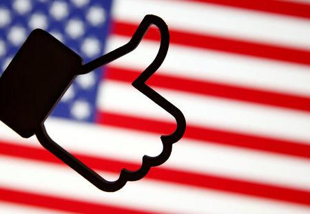 A 3D-printed Facebook Like symbol is displayed in front of a U.S. flag in this illustration  taken, March 18, 2018. REUTERS/Dado Ruvic/Illustration