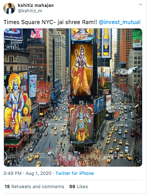 An image created using online generator is viral with the false claim that it shows Ram idols being displayed at the Times Square in US.