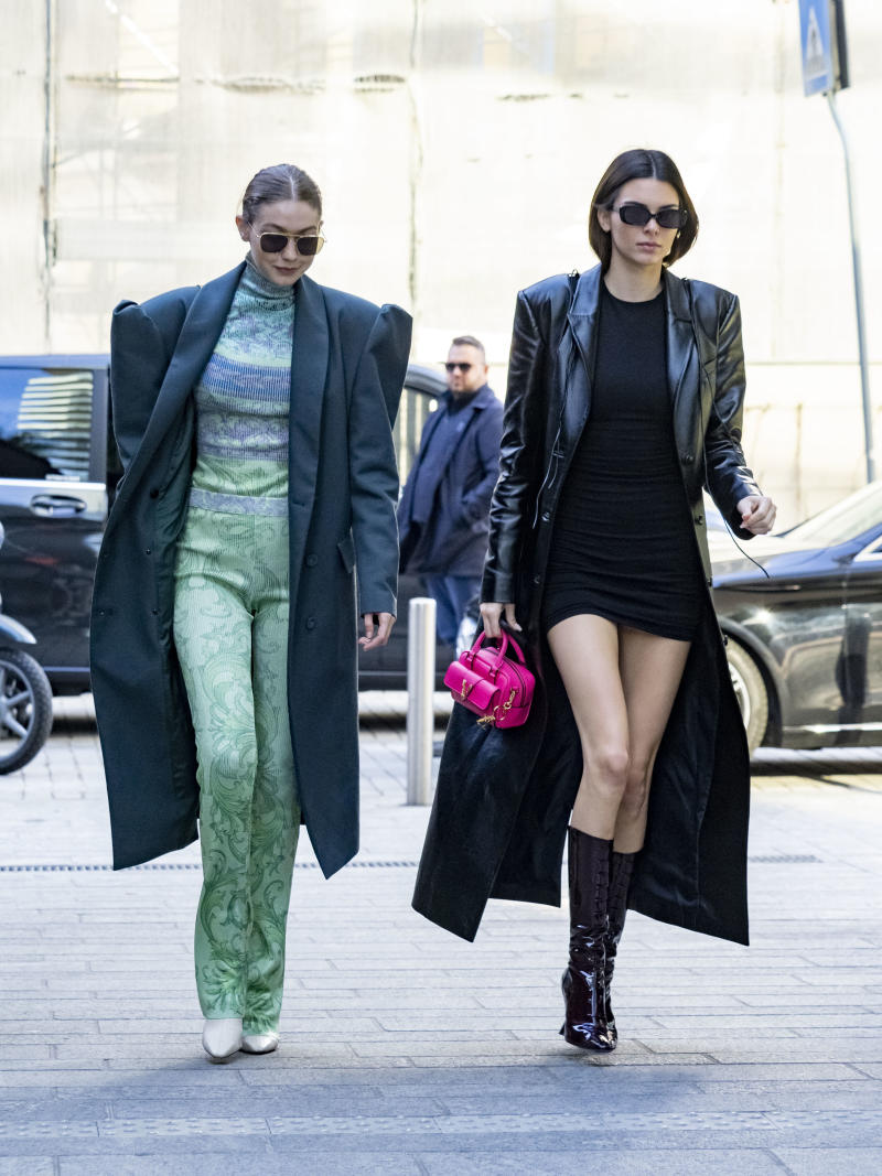 Kendall Jenner wore the Rumi dress from Reformation while out in Milan during Fashion Week. (Getty)
