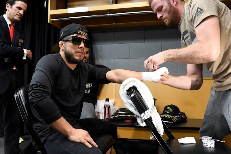 CHICAGO, IL - JUNE 08: Henry Cejudo has his hands wrapped backstage during the UFC 238 event at the United Center on June 8, 2019 in Chicago, Illinois. (Photo by Todd Lussier/Zuffa LLC/Zuffa LLC via Getty Images)