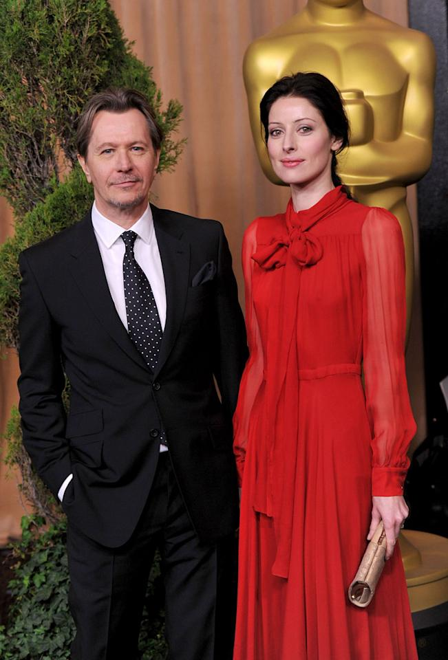 """Best Actor nominee Gary Oldman (""""Tinker Tailor Soldier Spy"""") was accompanied by his fourth wife, jazz singer Alexandra Edenborough."""