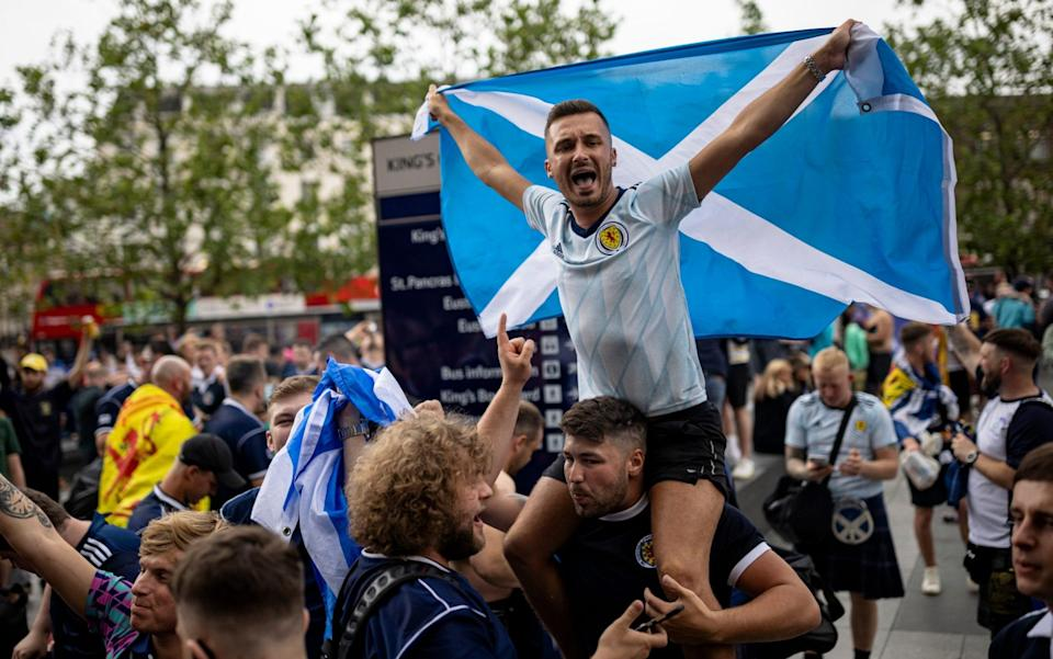 Scotland fans arrive at King's Cross - GETTY IMAGES