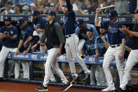 Tampa Bay Rays players react after defeating the Toronto Blue Jays during a baseball game Wednesday, Sept. 22, 2021, in St. Petersburg, Fla. With the win, the Rays clinched a playoff berth. (AP Photo/Chris O'Meara)